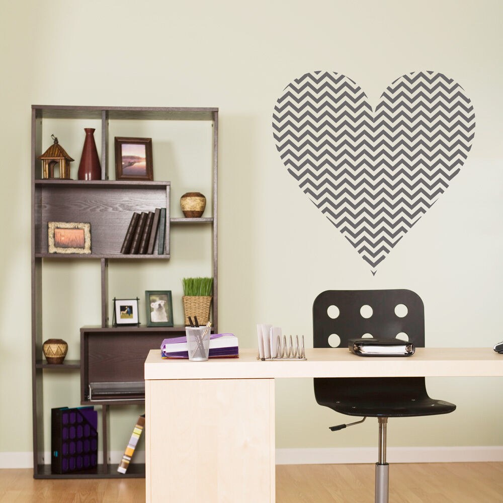 CHEVRON HEART Wall Decal Vinyl Words Lettering Decor