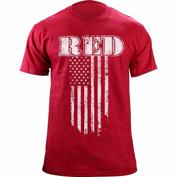 Red friday vintage flag support the troops t shirt ebay for Red support our troops shirts