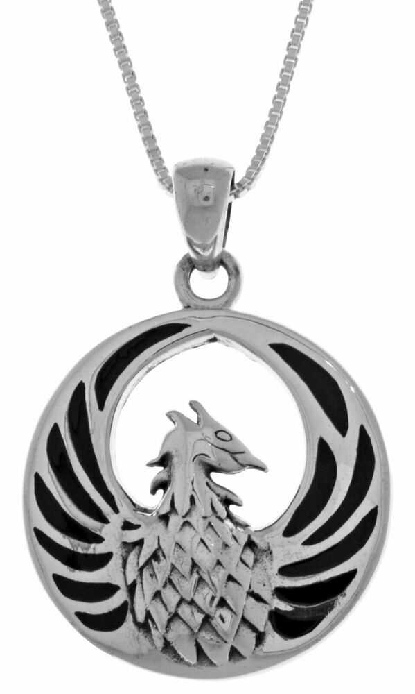 sterling silver phoenix fire bird pendant with black onyx
