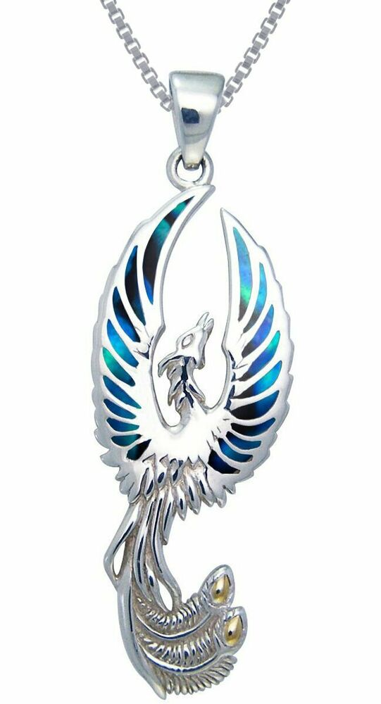 Offer Up Phoenix >> Sterling Silver with Paua Shell Flying Phoenix Pendant on ...