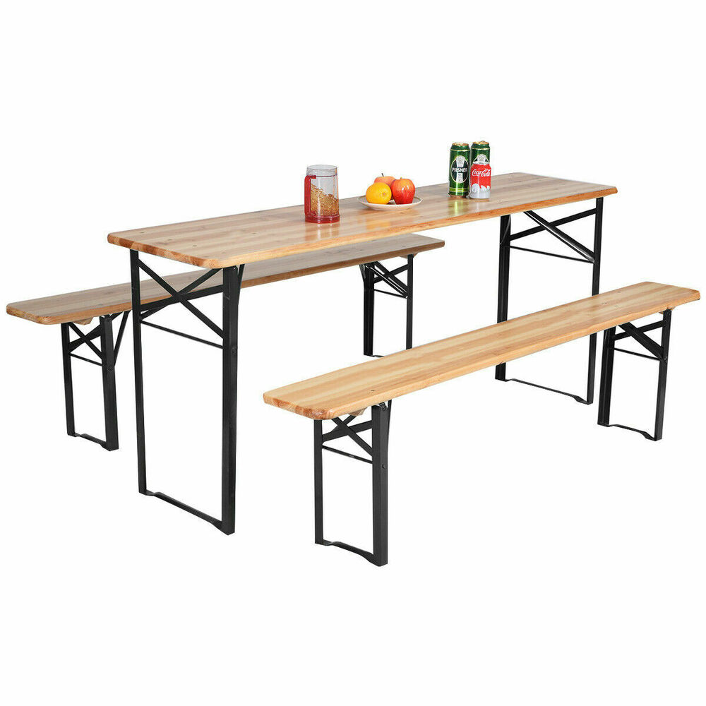 Deals 3 Pcs Beer Table Bench Set Folding Wooden Top Picnic Table Patio New Ebay