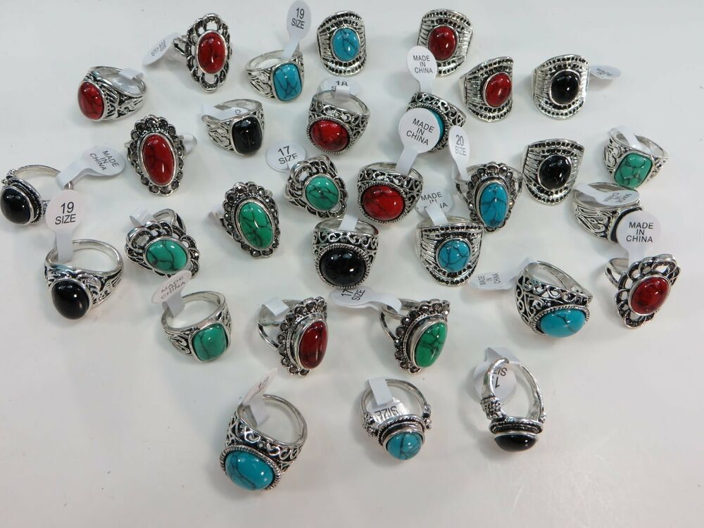 Us seller 15pc vintage inspired turquoise stone costume for Turquoise colored fashion jewelry