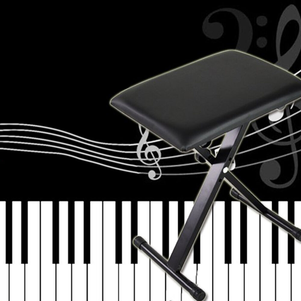 Black Adjustable Piano Bench Piano Keyboard Chair Padded Seat Rubber Feet Ste