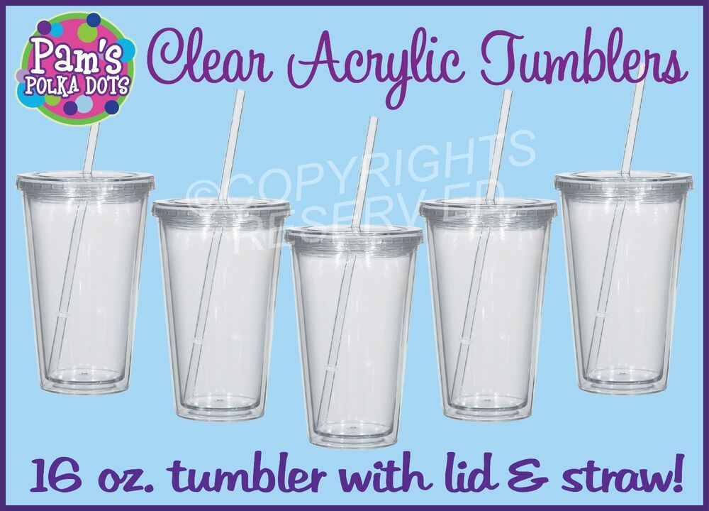 New Clear Acrylic Tumblers 16 Oz Double Walled Insulated