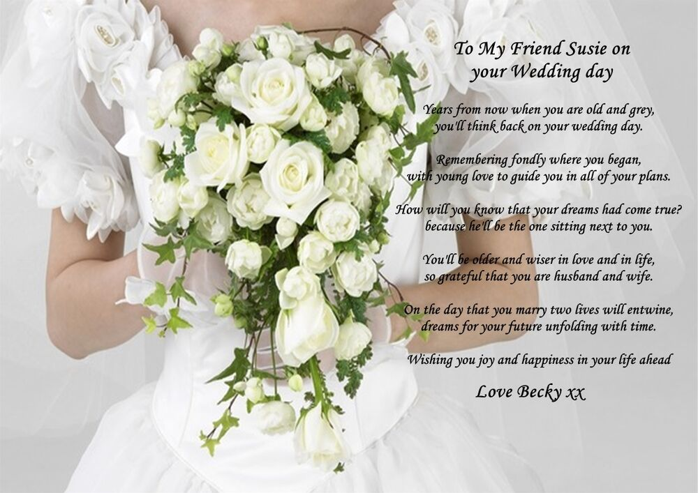 Personalised a4 poem to my friend on her wedding day gift for Best day for a wedding
