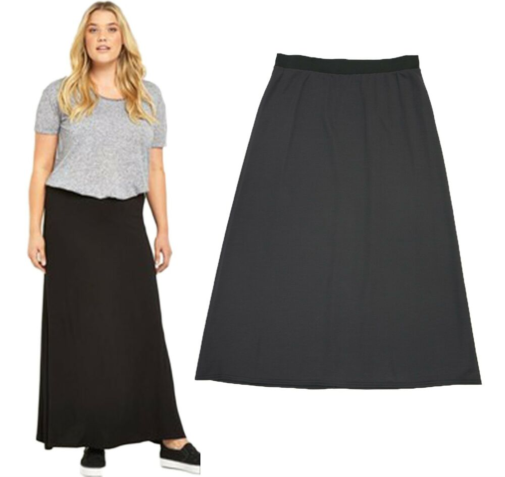 Ladies Plain Elastic Waist Long Straight Maxi Pencil Skirt ...