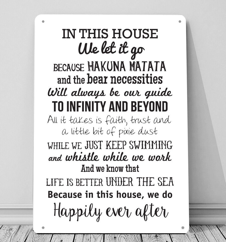Disney Quote Plaques: In This House We Do, Inspired A4 Metal Sign Plaque Wall