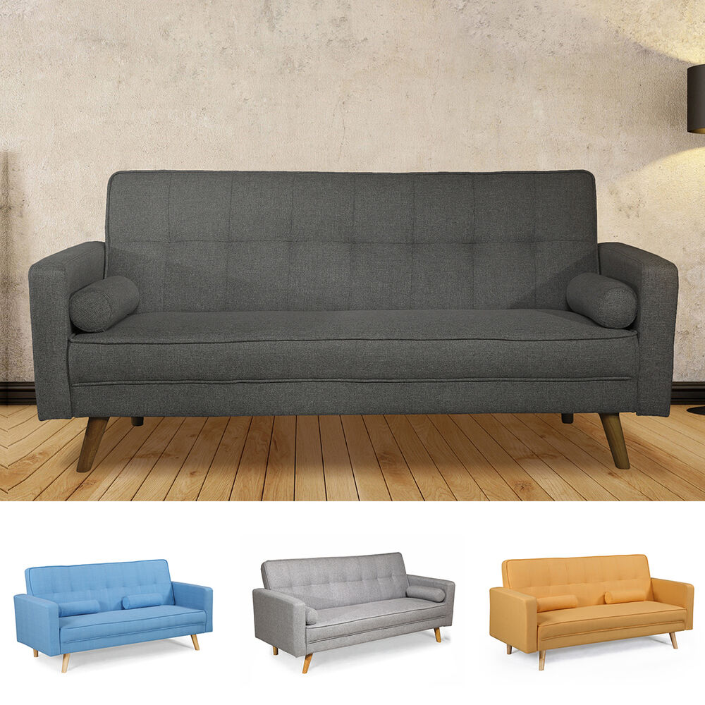 Modern Stylish Grey Or Charcoal Fabric 3 Seater Sofa Bed