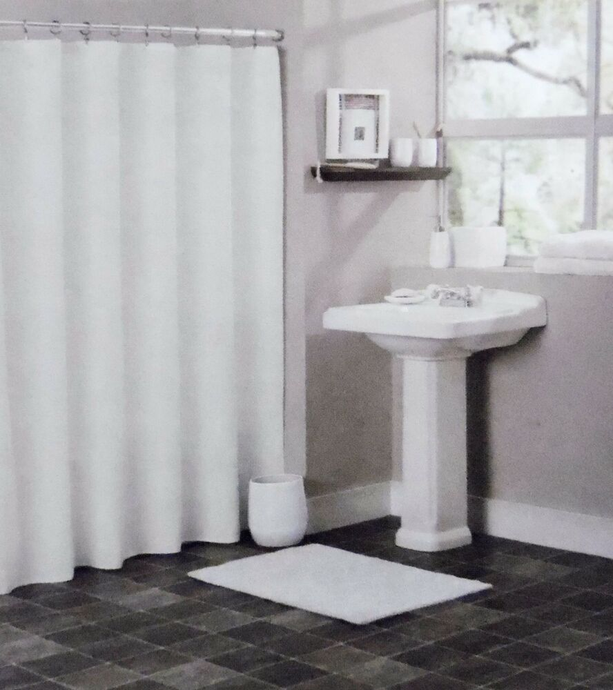SOLID WHITE BATHROOM VINYL PLASTIC SHOWER CURTAIN LINER