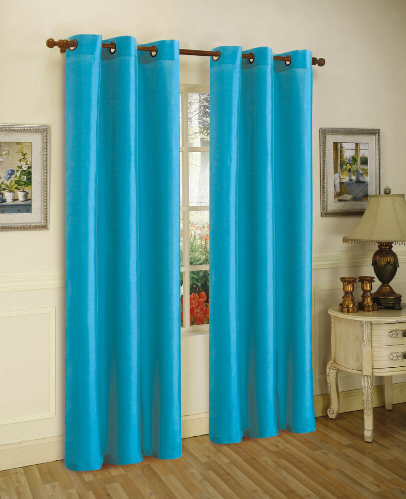 aqua blue panels room darkening blackout grommet window curtain k86