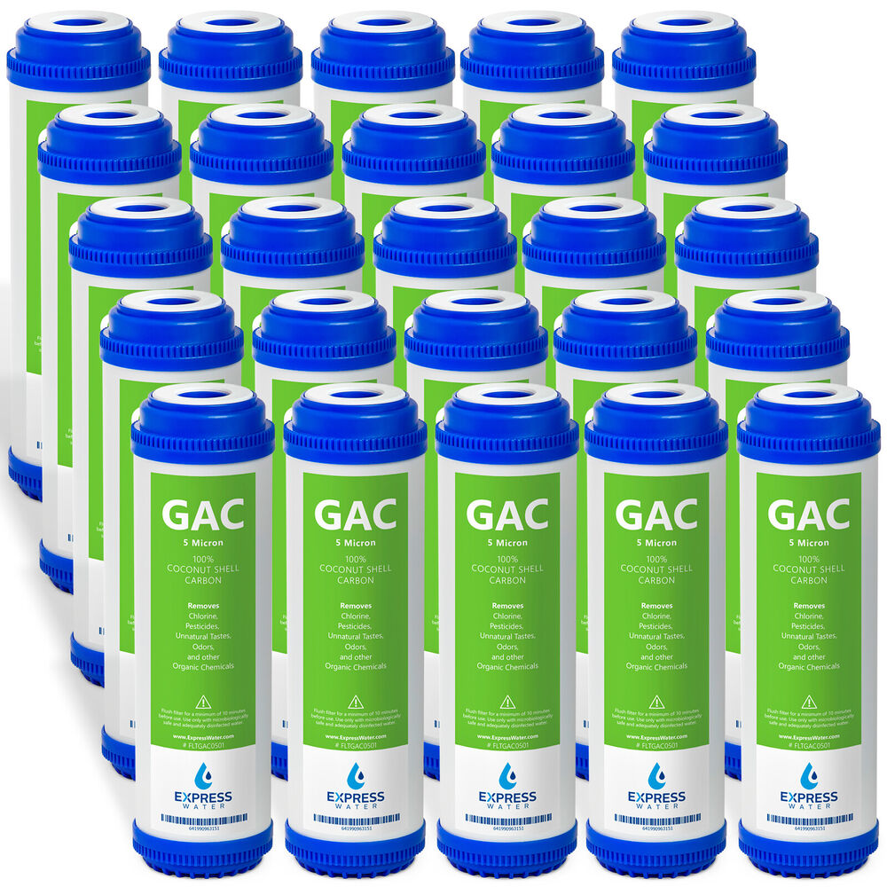 25pk 5 micron gac granular activated carbon water filter 10 standard ro system ebay. Black Bedroom Furniture Sets. Home Design Ideas