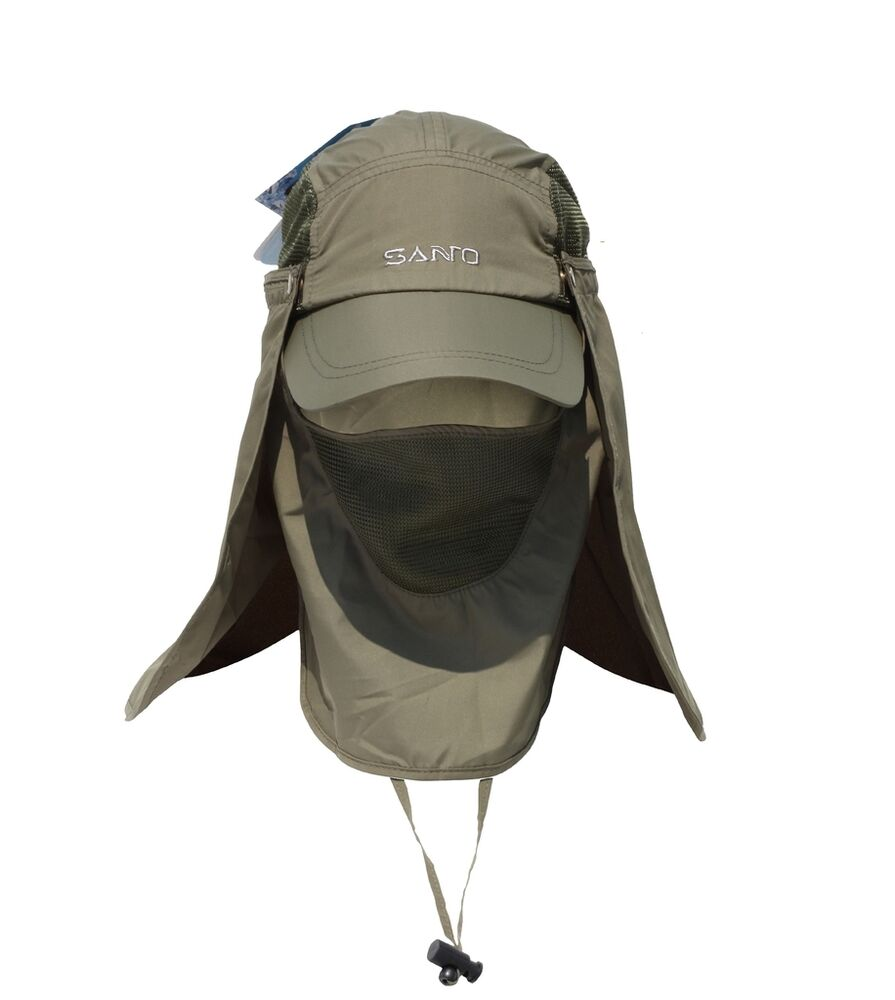 Mens outdoor quick dry face neck flap cap sun protection for Fishing hats sun protection