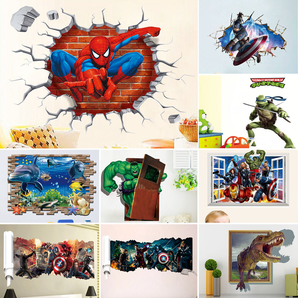 Diy Wall Decor For Playroom : D cartoon children playroom wall art stickers mural quote