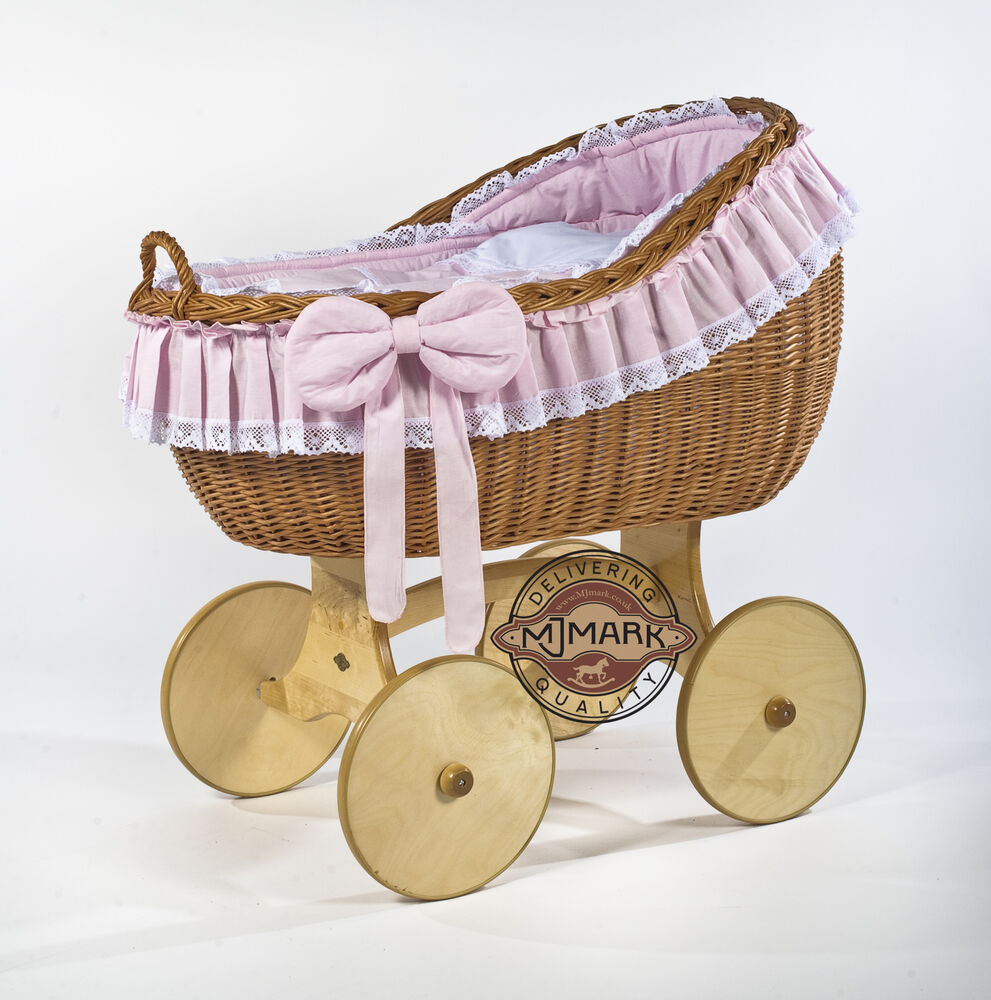 Crib for sale uk - Wicker Crib Moses Basket Stubenwagen Bianca Antique Pink With Bedding Cot Bed