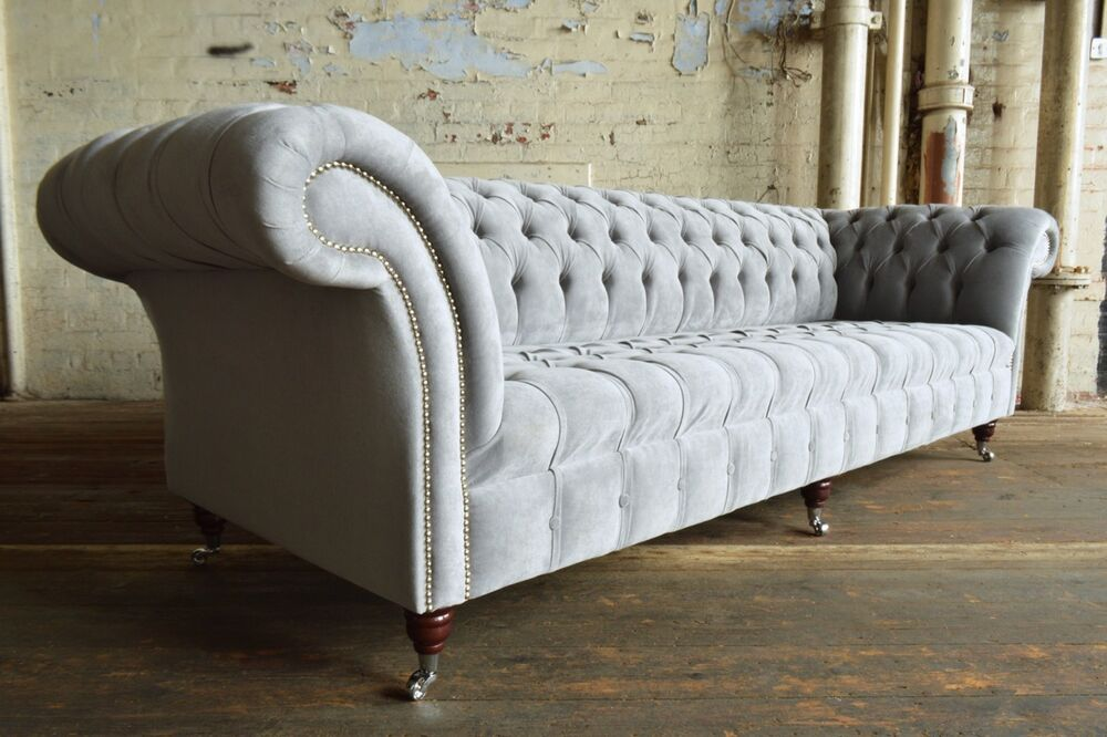 modern handmade silver grey velvet chesterfield sofa couch. Black Bedroom Furniture Sets. Home Design Ideas