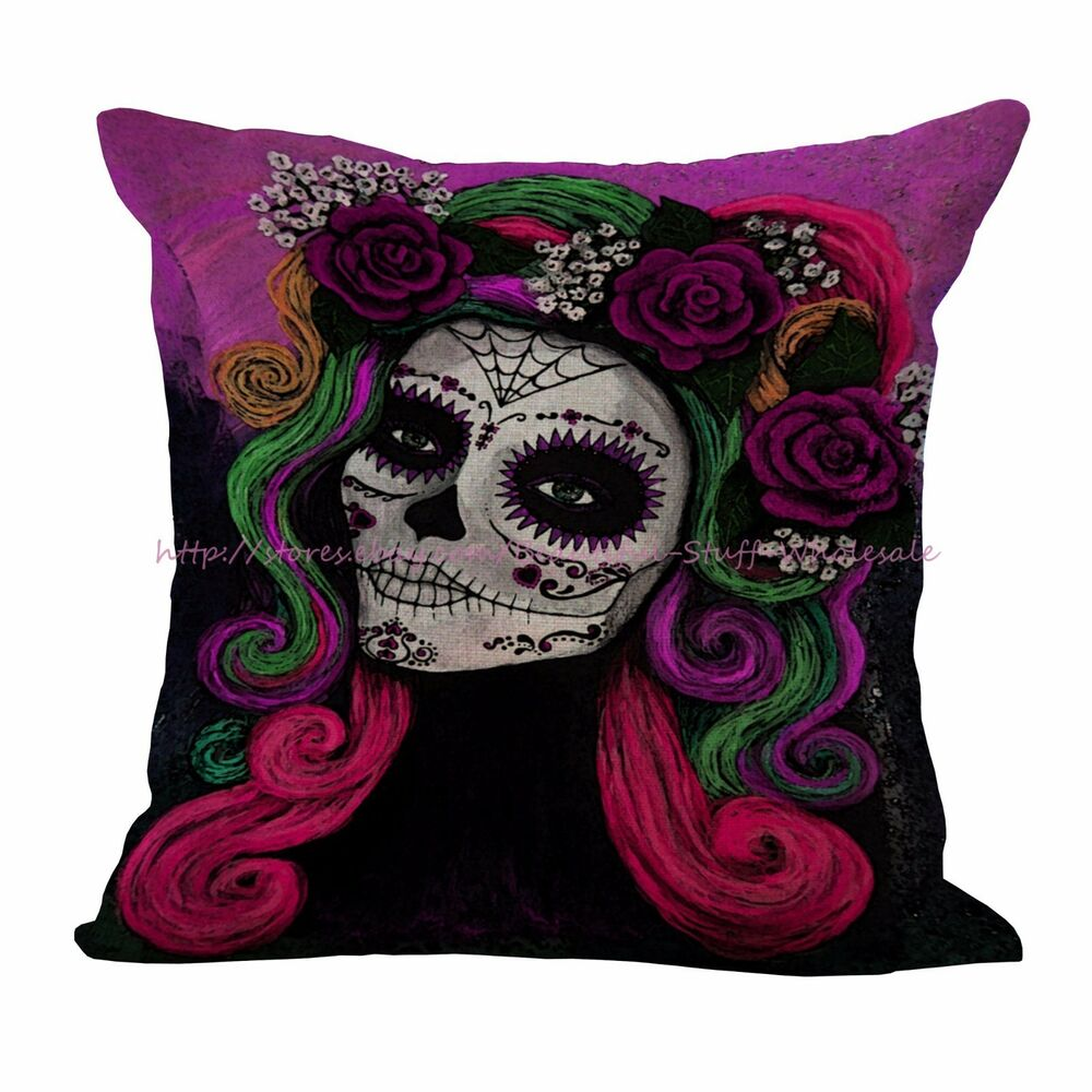 US SELLER-Day of the Dead Sugar Skull cushion cover home ...