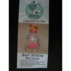 Dog is Good BOLO Sitting Pullover Hoodie Dog Grey and Pink Distressed Small/Med