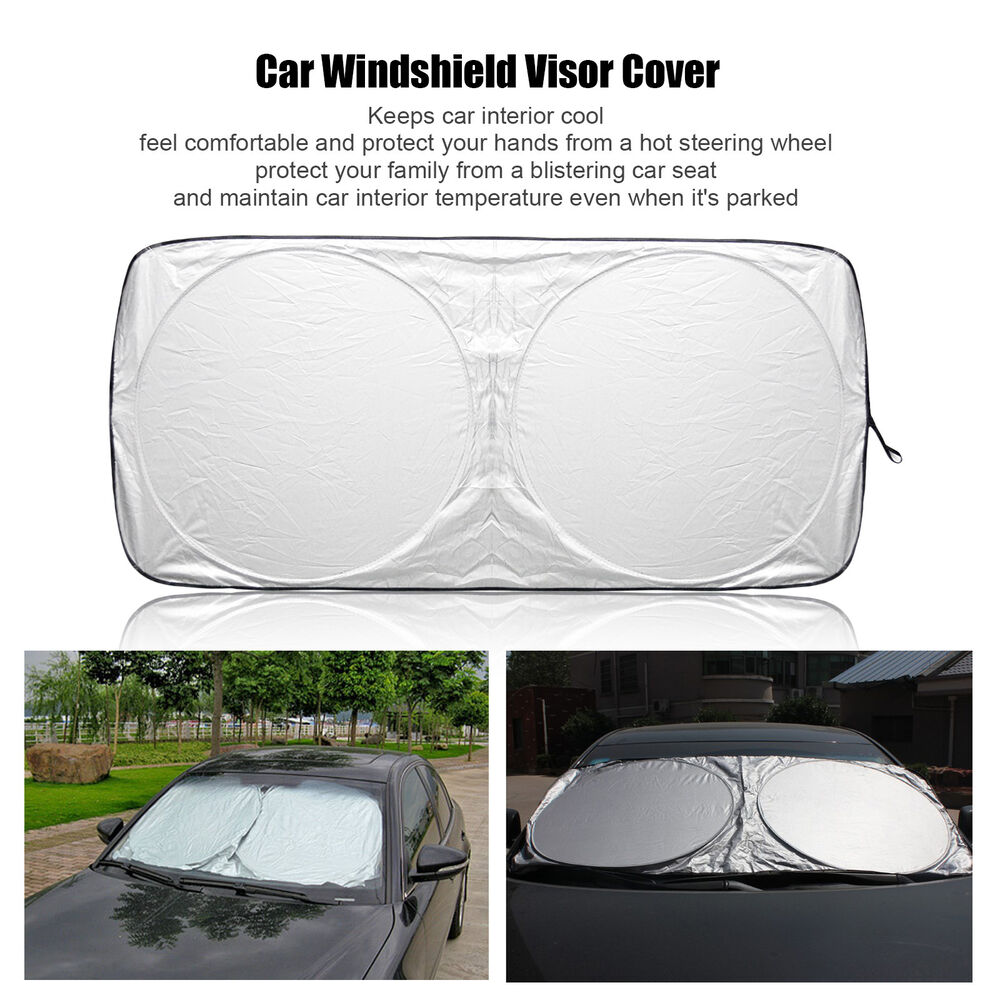 foldable jumbo front car window sun shade auto visor windshield block cover ebay. Black Bedroom Furniture Sets. Home Design Ideas