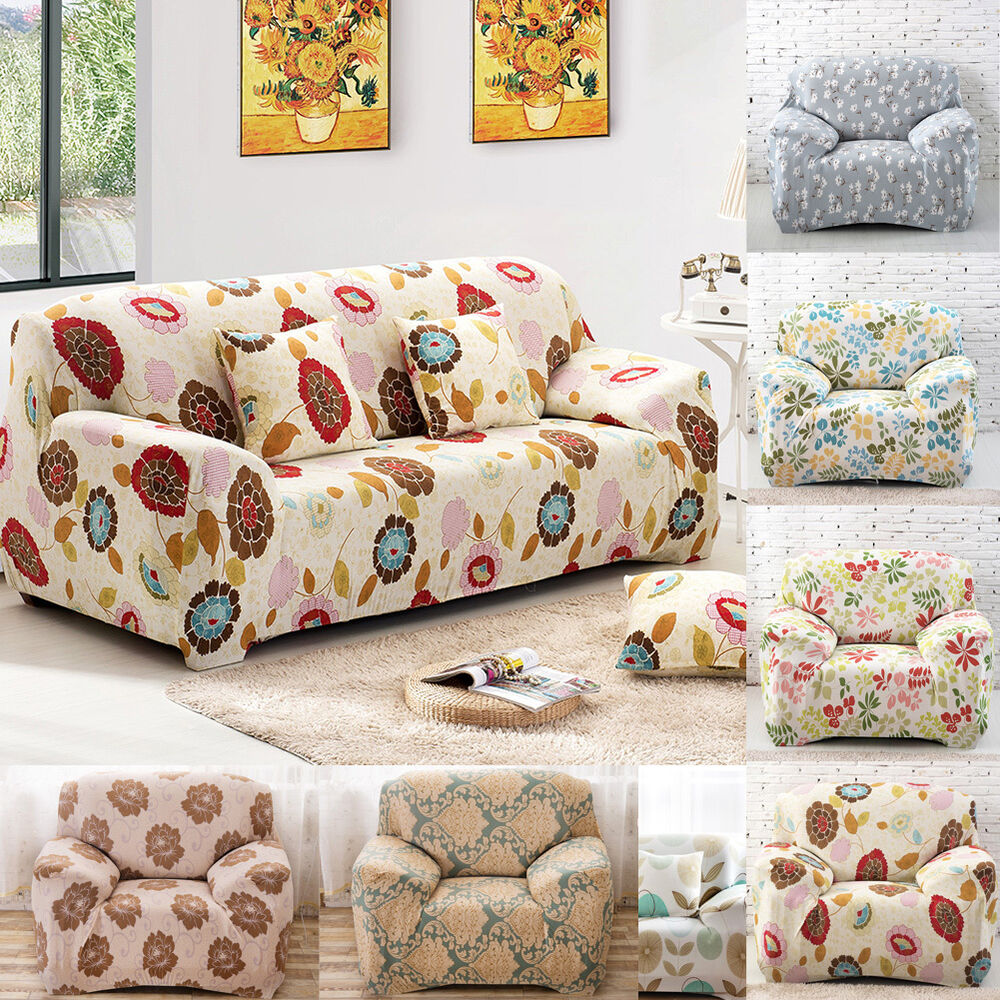 1 piece floral stretch sofa slipcovers couch cover sofa loveseat chair 8 colors ebay. Black Bedroom Furniture Sets. Home Design Ideas