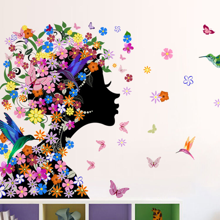 Removable butterfly flower fairy girl wall sticker home for Butterfly wall mural stickers