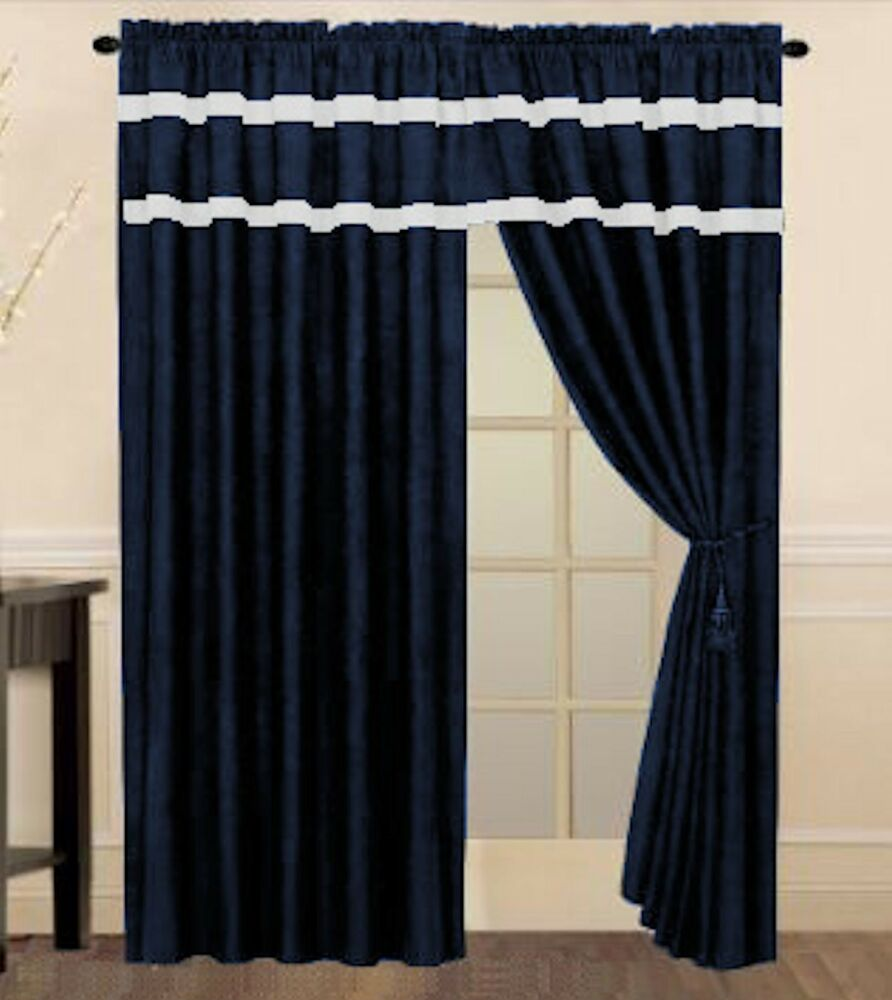 Nautical Themed Navy Blue W White Stripes Window Curtain