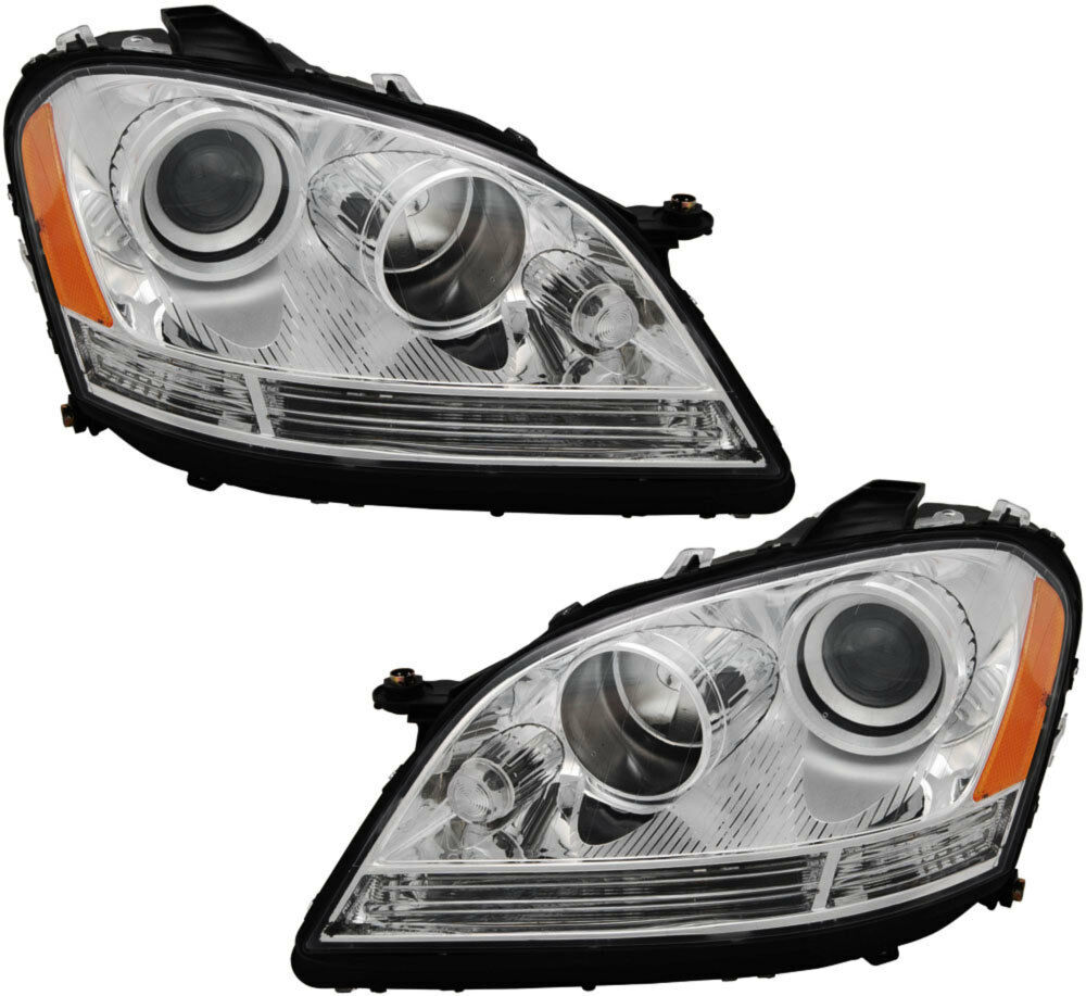 New headlights assembly w bulb set pair for 06 07 mercedes for Mercedes benz ml350 headlight bulb