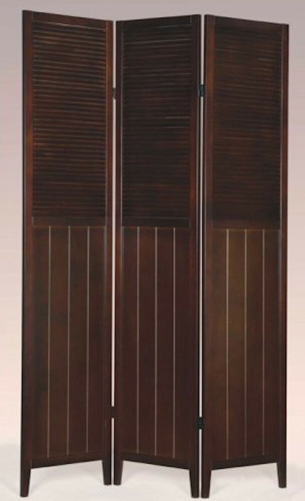 3 Or 4 Panel Solid Wood Shutter Style Room Screen Divider Espresso Color Ebay