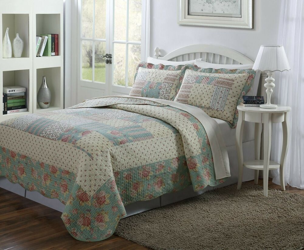 3 PCS Quilt Bedspread Light Blue, Taupe And Pale Yellow
