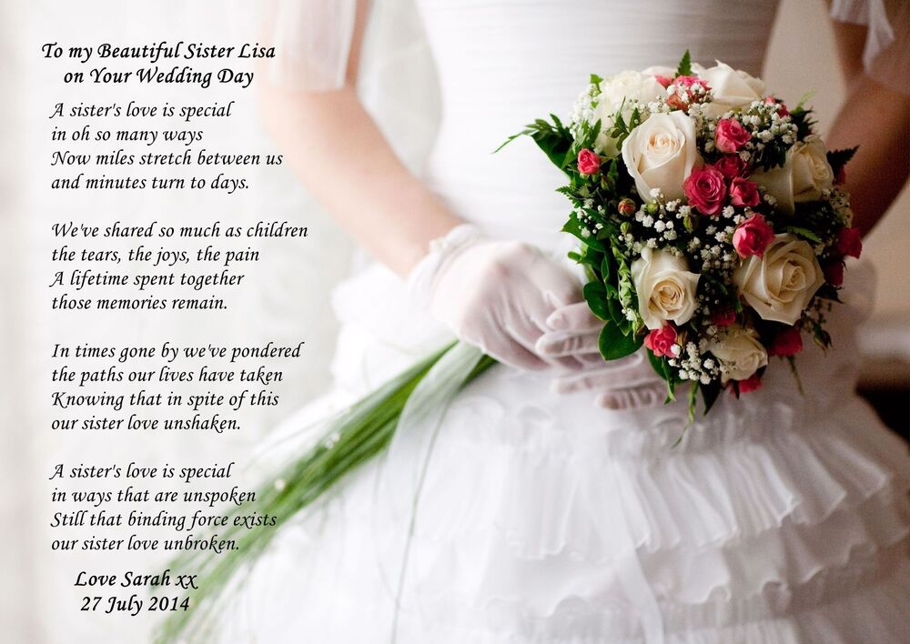 Gift For Best Friend On Wedding Day: PERSONALISED TO MY SISTER ON HER WEDDING DAY POEM IDEAL TO