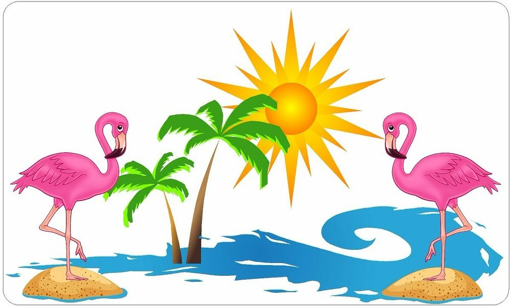 Flamingo Sunset Palm Tree Wave Decal Camper Rv Motor Home