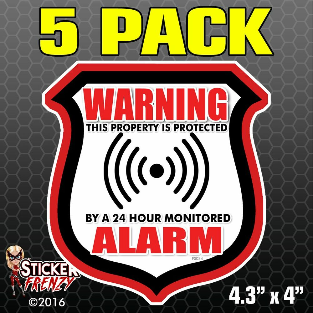 5 Pk Warning Alarm Shield Red Stickers Video Security