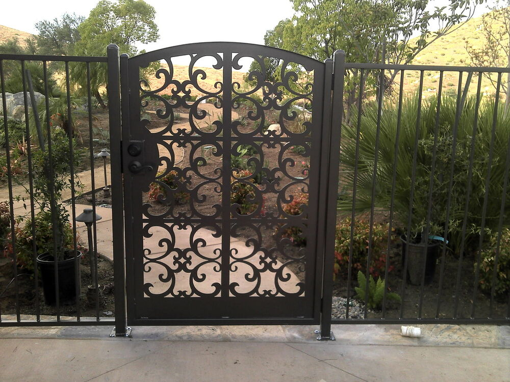 Contemporary metal gate walk pedestrian garden entry