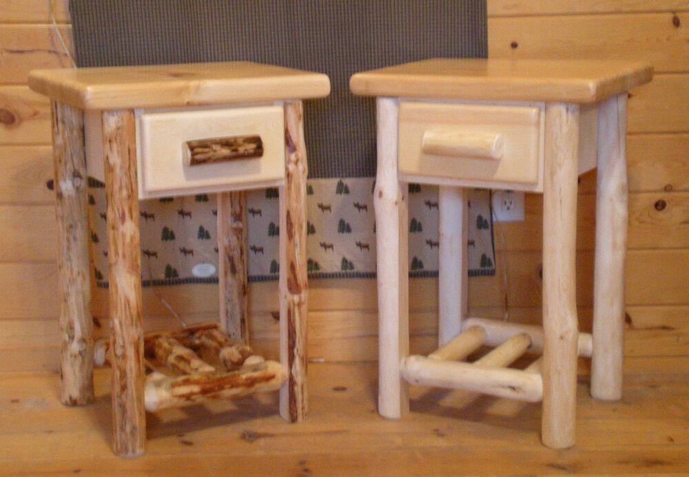 Log End Table Night Stand Ebay
