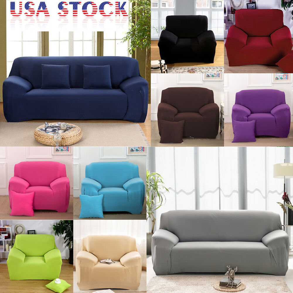 us ship stretch chair sofa covers 1 2 3 seater protector couch cover slipcover ebay. Black Bedroom Furniture Sets. Home Design Ideas