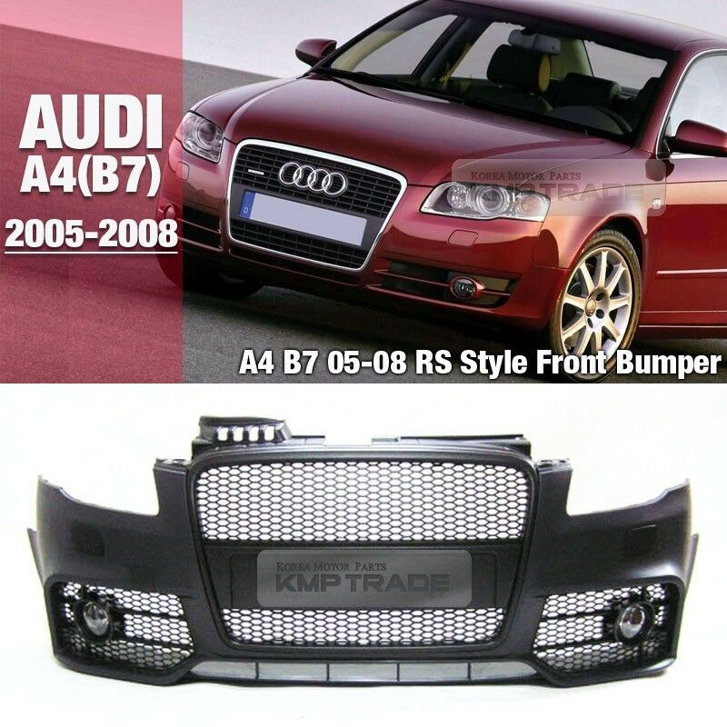 RS4 Style Front Bumper With Black Front Hood Grille For