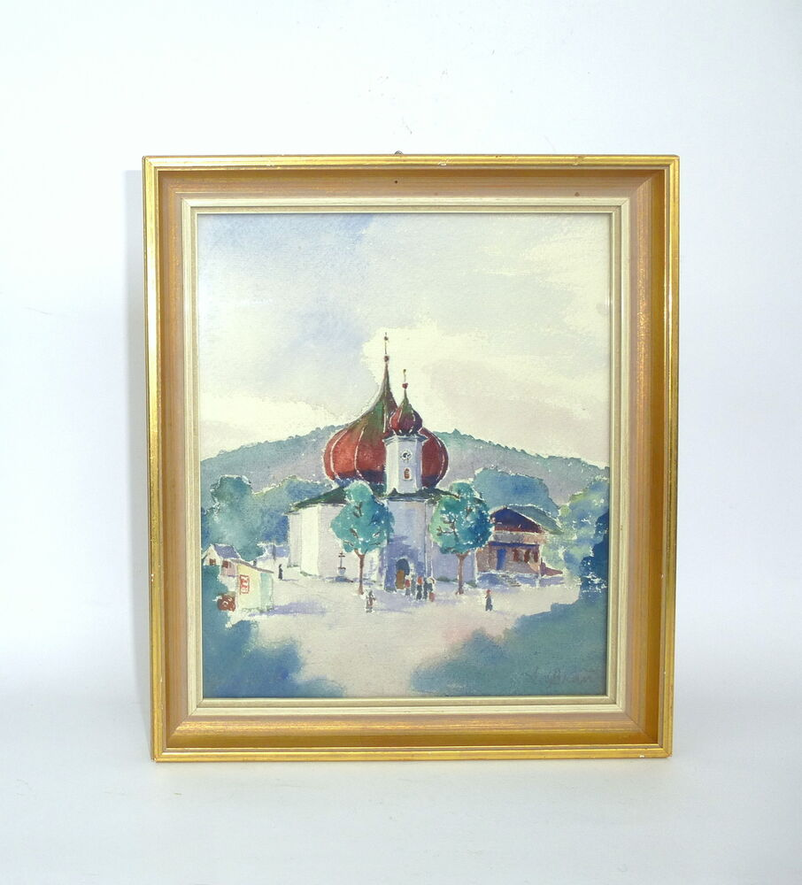 aquarell bild im rahmen kirche signiert um 1900 ebay. Black Bedroom Furniture Sets. Home Design Ideas