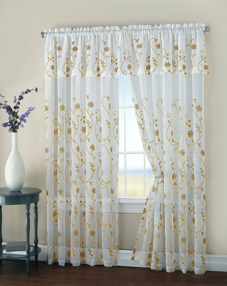 Two Floral Embroidery Matte Sheer Window Panel W Attached