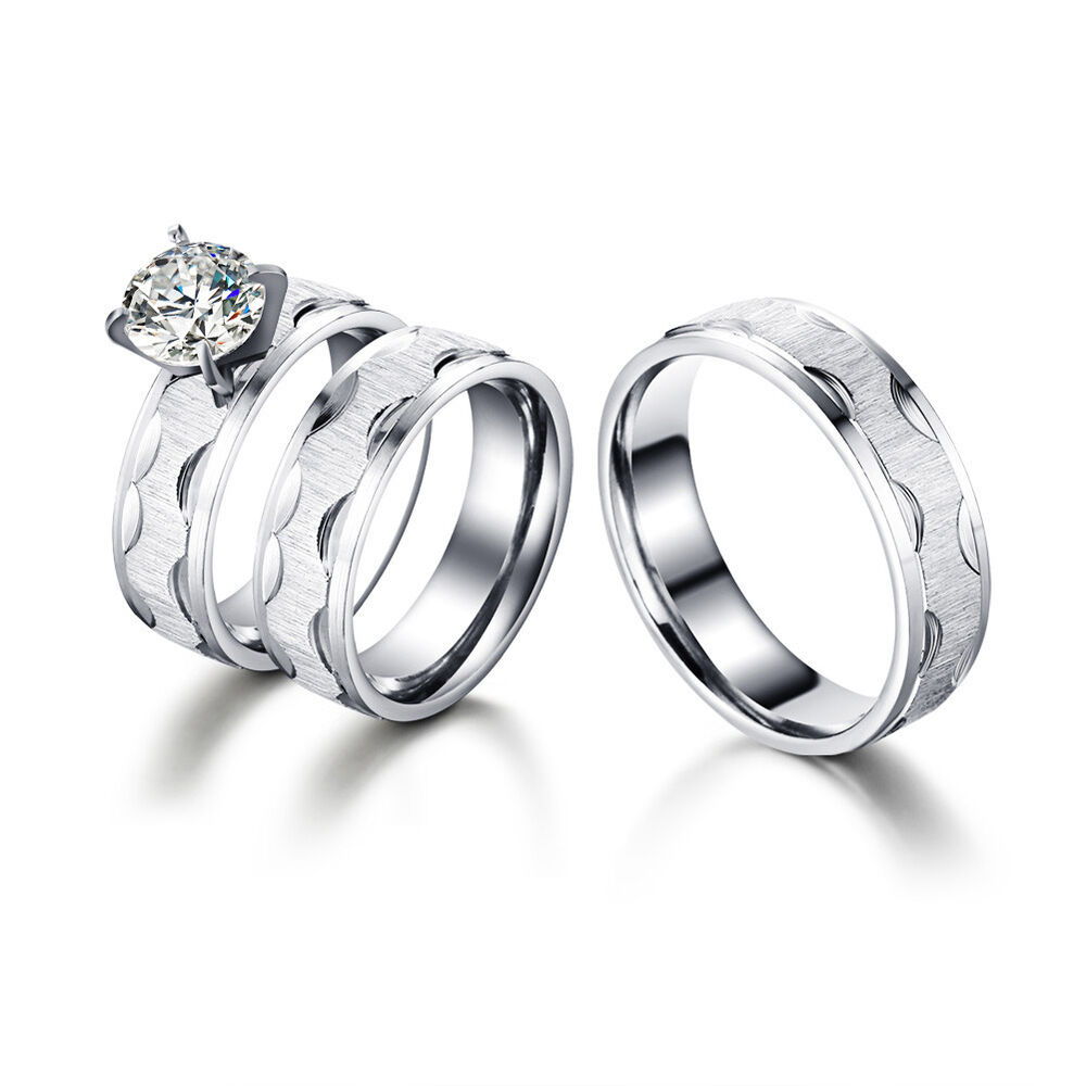 His And Her Wedding Rings: Stainless Steel Zirconia Couples Ring His And Her Wedding