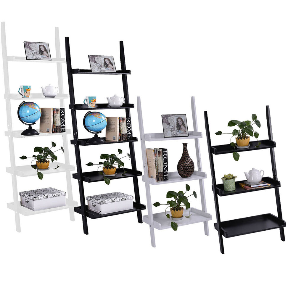 3 Amp 5 Tier Wooden Wall Rack Leaning Ladder Shelf Unit