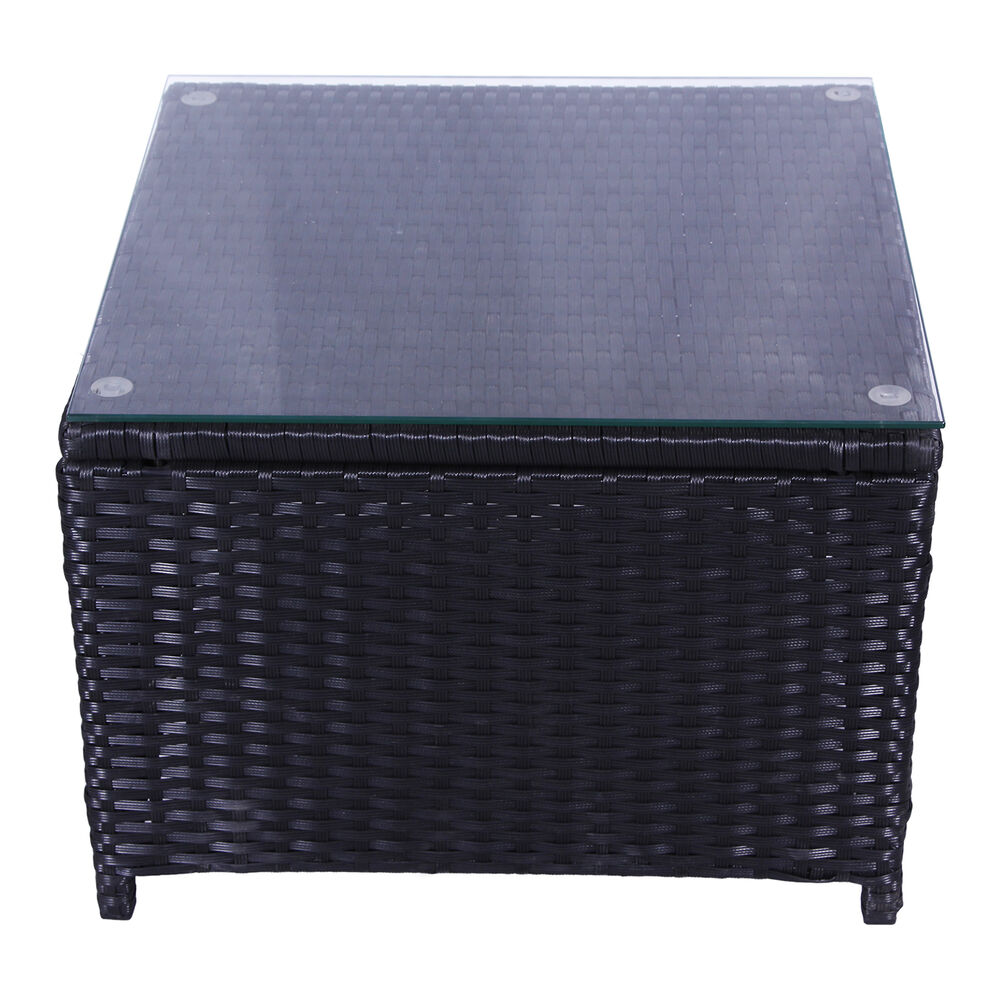 Outdoor patio rattan wicker glass top tea table garden for Wicker patio table
