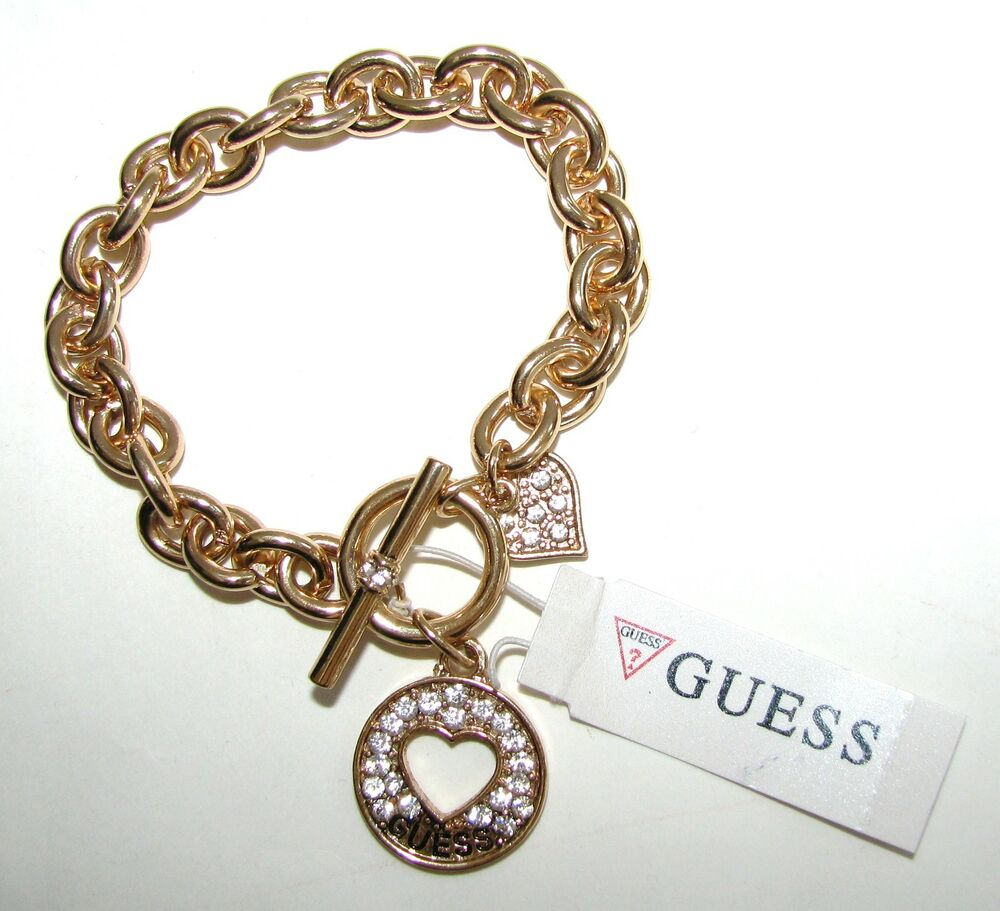 Chain Bracelet Womens: NEW-GOLD TONE GUESS CHAIN LINK W/ HEART CRYSTAL & LOGO