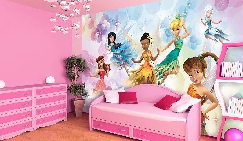 riesen wandtapete foto tapete f r m dchen raum disney fairies tinkerbell deko ebay. Black Bedroom Furniture Sets. Home Design Ideas