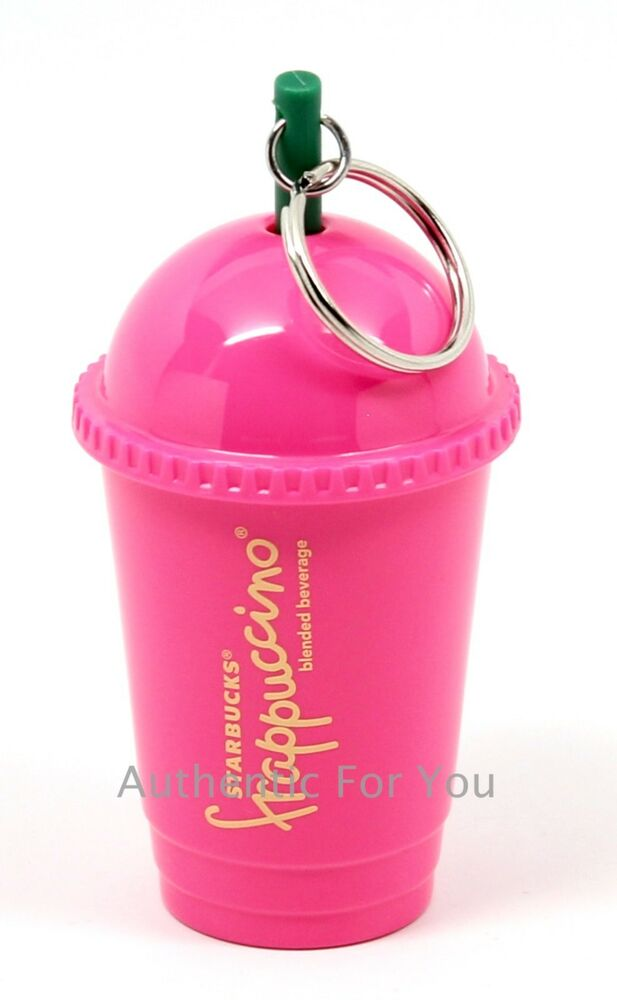 NEW Starbucks PINK Frappuccino Keychain Cold Cup Tumbler with Straw Key Chain | eBay