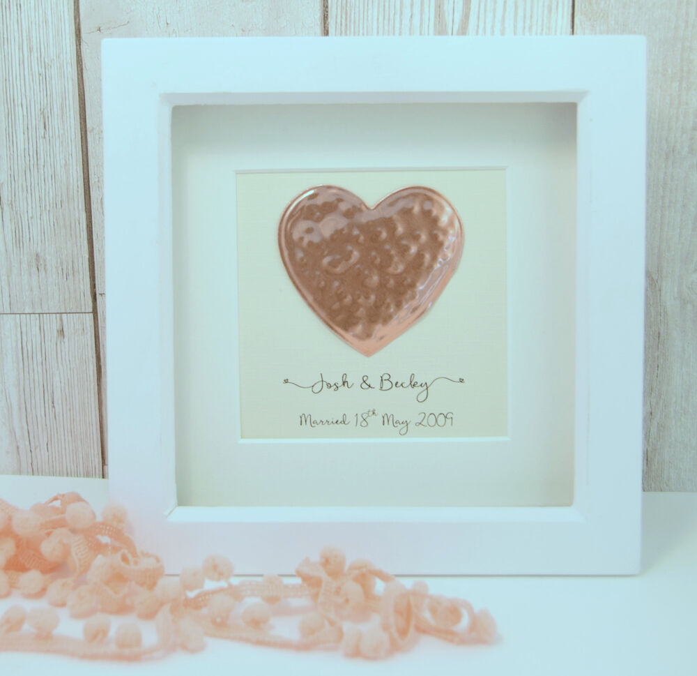7th Wedding Anniversary Gift: Copper Heart Large Frame 7th Wedding Anniversary Gift