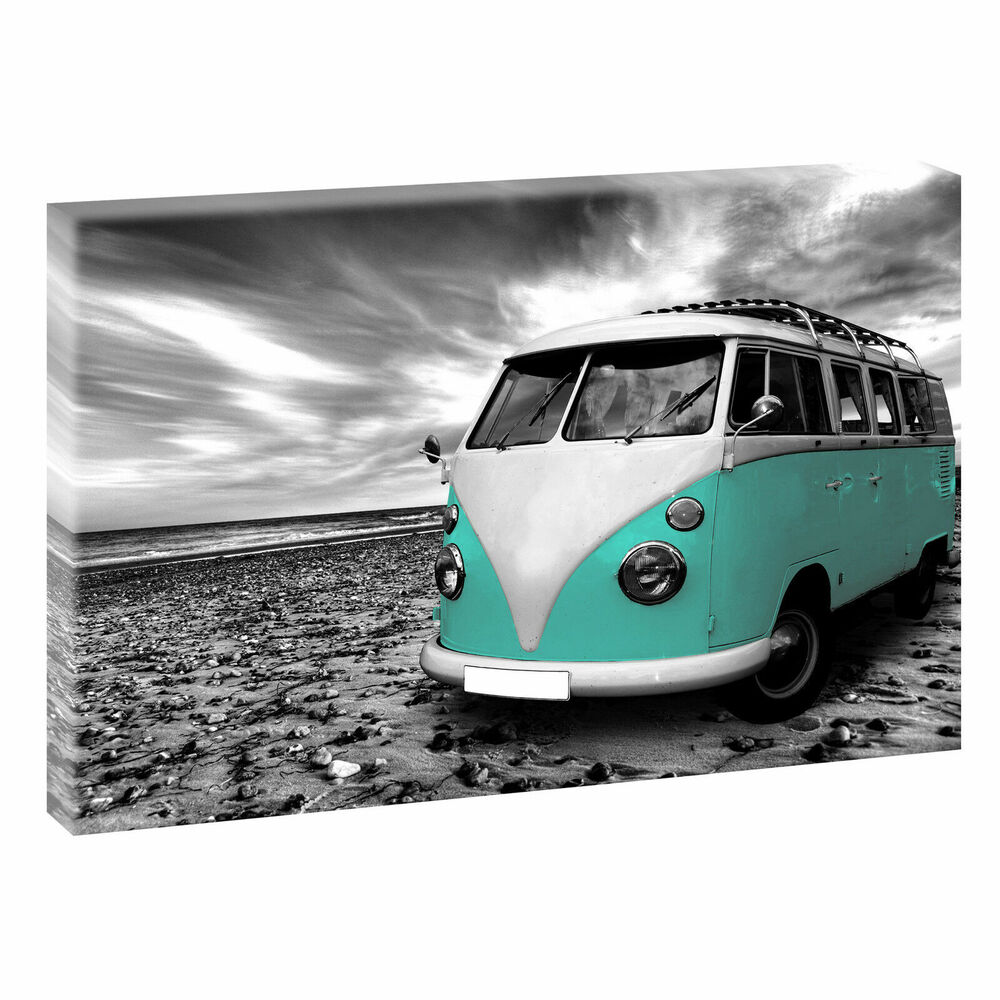 vw bulli sw t rkis bild auf leinwand keilrahmen poster xxl 120 cm 80 cm 515 ebay. Black Bedroom Furniture Sets. Home Design Ideas