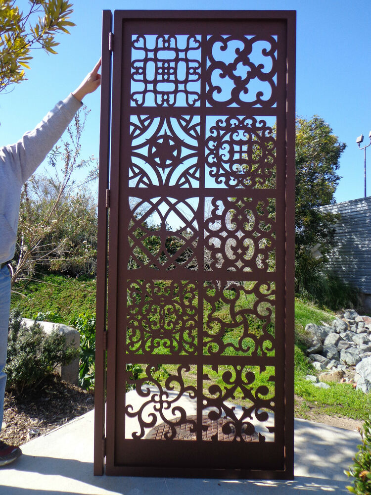 metal art gate ornamental estate designer custom wrought iron garden steel ebay. Black Bedroom Furniture Sets. Home Design Ideas