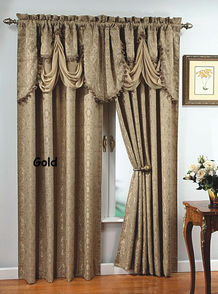 Luxury portofino window curtain jacquard panel 84 long for Where to buy curtain panels