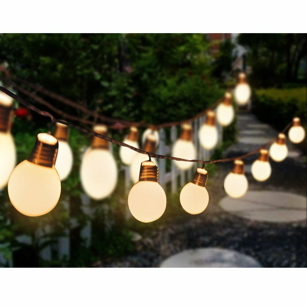 Festoon Party String Lights : 20 Deluxe Bright LED Solar Festoon Party String Lights WarmWhite White Blub eBay