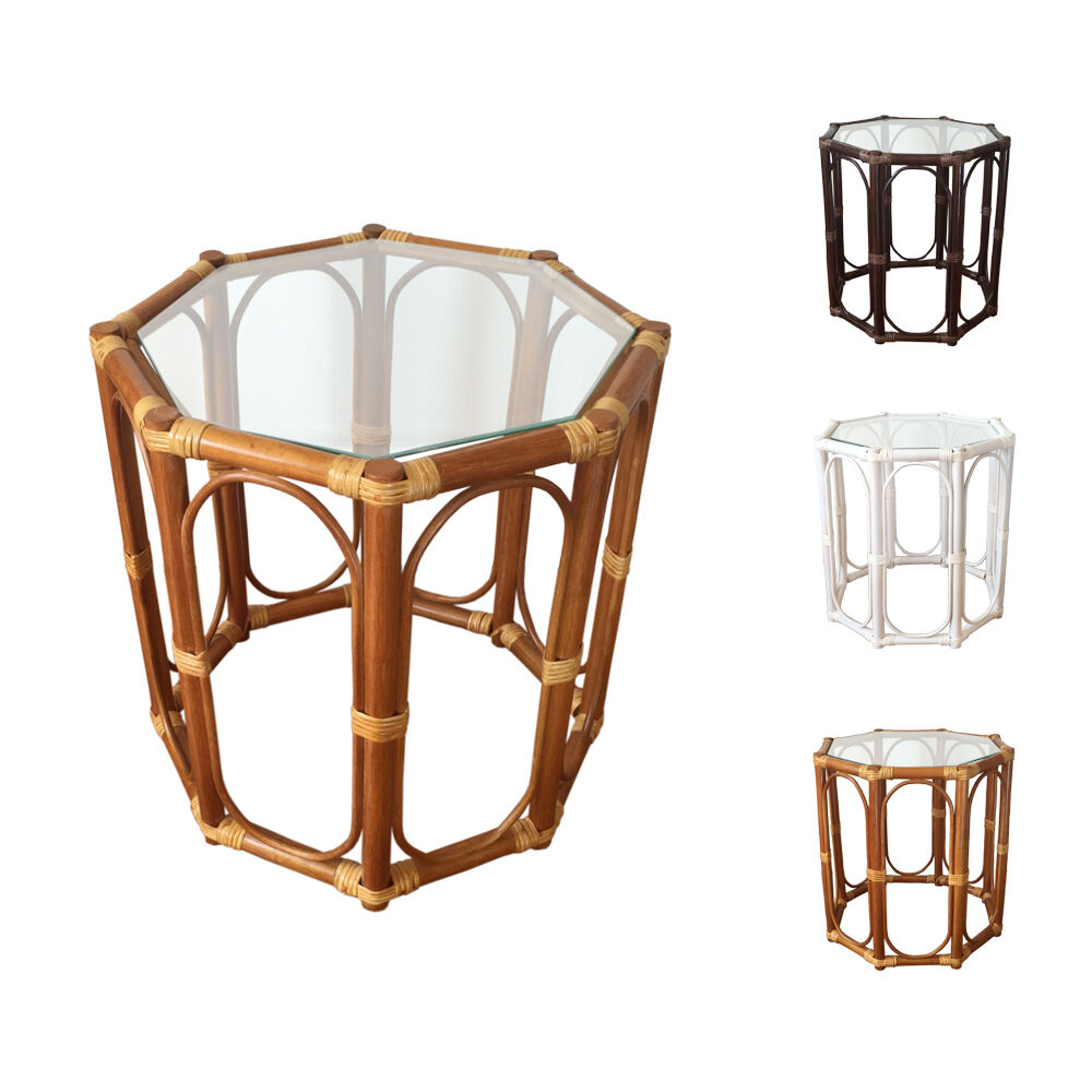 "Wicker Coffee Table With Glass Top: Rattan Round Coffee End Table Model Trudi 19"" With Glass"