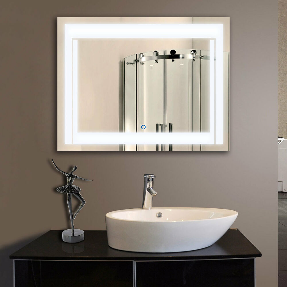 Led bathroom wall mirror illuminated lighted vanity mirror for Bathroom wall mirrors